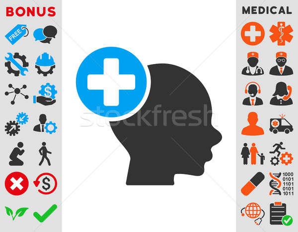 Hoofd behandeling icon stijl symbool Blauw Stockfoto © ahasoft