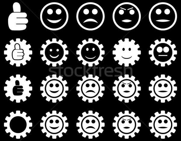 Einstellungen Lächeln Zahnräder Symbole Set Stil Stock foto © ahasoft