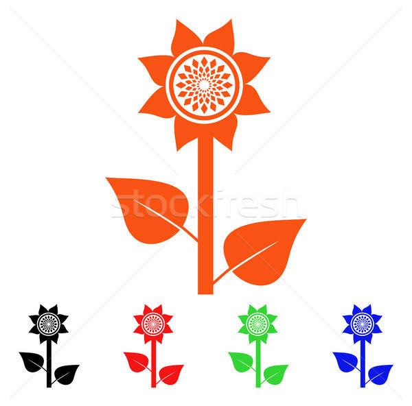 Stockfoto: Zonnebloem · plant · vector · icon · stijl