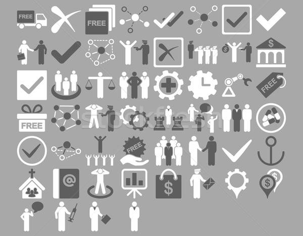 Stockfoto: Business · iconen · donkere · grijs · witte