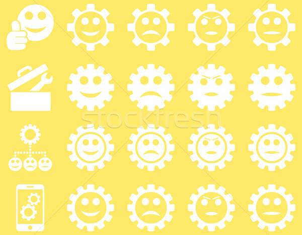 Araçları gülümseme dişliler simgeler ayarlamak stil Stok fotoğraf © ahasoft
