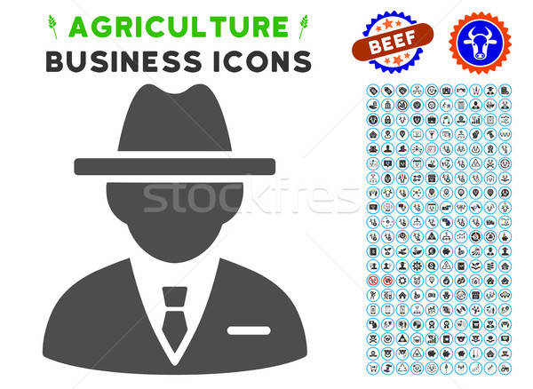Foto stock: Agente · icono · agricultura · establecer · gris · comerciales
