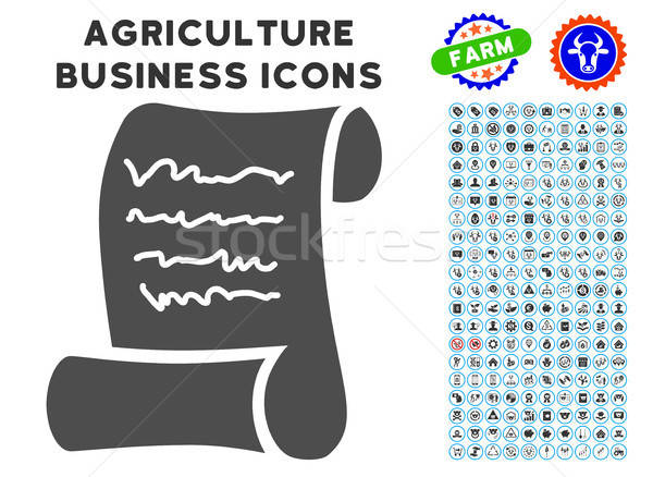 Script Roll Icon with Agriculture Set Stock photo © ahasoft