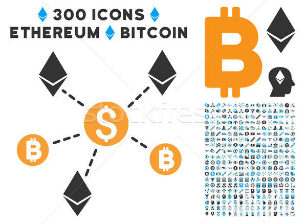 Cryptocurrency Network Flat Icon with Clip Art Stock photo © ahasoft