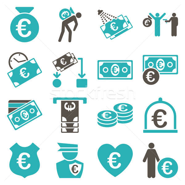 Euro banking business and service tools icons Stock photo © ahasoft