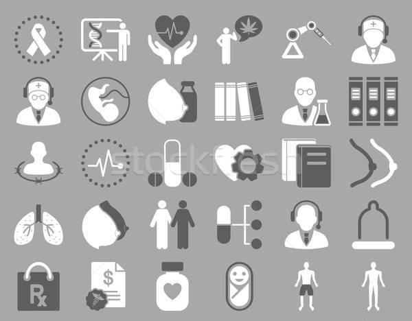 Zdjęcia stock: Medycznych · ikona · ciemne · szary · biały