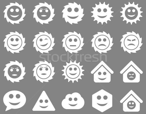 Stockfoto: Tools · versnellingen · glimlacht · emoties · iconen · vector