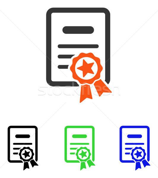 Gecertificeerd diploma vector icon illustratie stijl Stockfoto © ahasoft