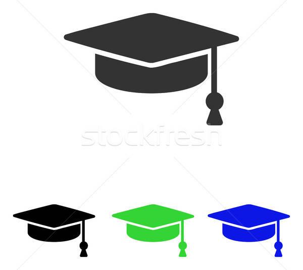 Graduation Cap Flat Vector Icon Stock photo © ahasoft