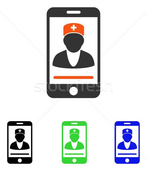 Mobiles médecin vecteur icône illustration style Photo stock © ahasoft