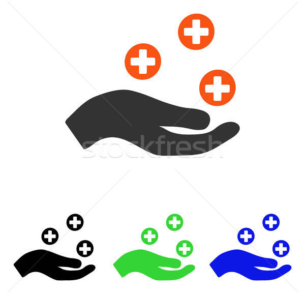 Hand Offer Medicine Flat Vector Icon Stock photo © ahasoft