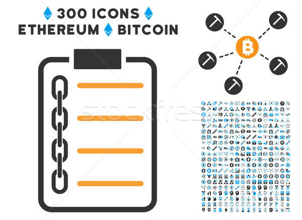 Blockchain Contract Flat Icon with Clip Art Stock photo © ahasoft