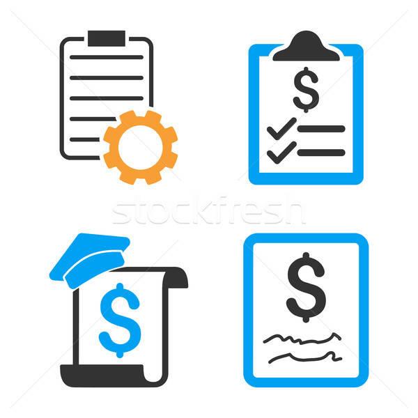 Smart Contract Vector Icon Set Stock photo © ahasoft