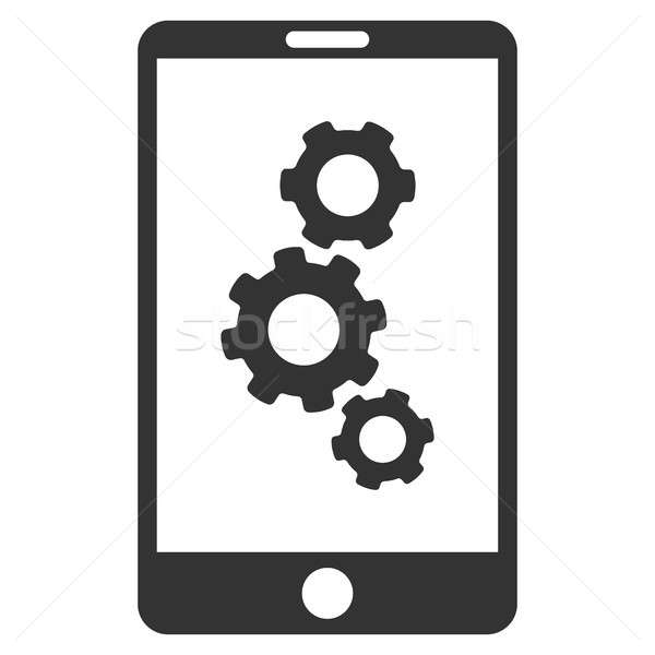 Smartphone Gears Flat Raster Icon Stock photo © ahasoft