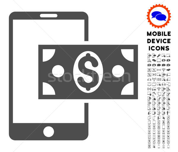 Mobile Dollar Cash Icon with Set Stock photo © ahasoft
