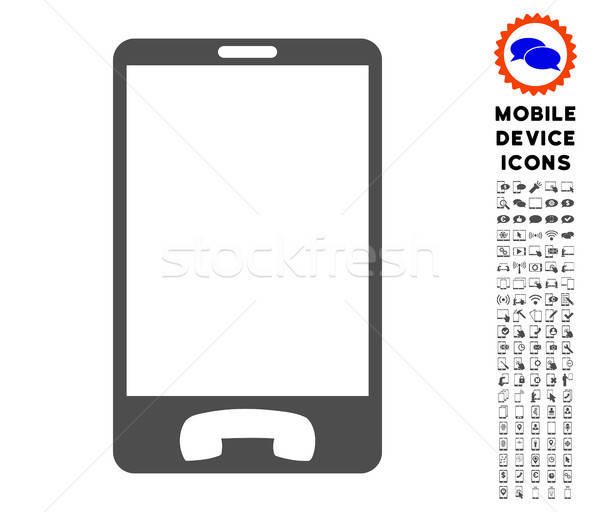 Mobile Phone Icon with Set Stock photo © ahasoft