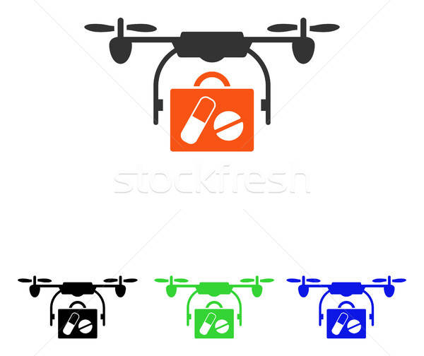 Medical Drone Shipment Flat Vector Icon Stock photo © ahasoft