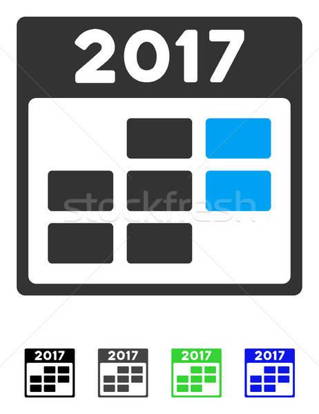 Foto stock: Calendário · semana · ícone · vetor · pictograma · cinza