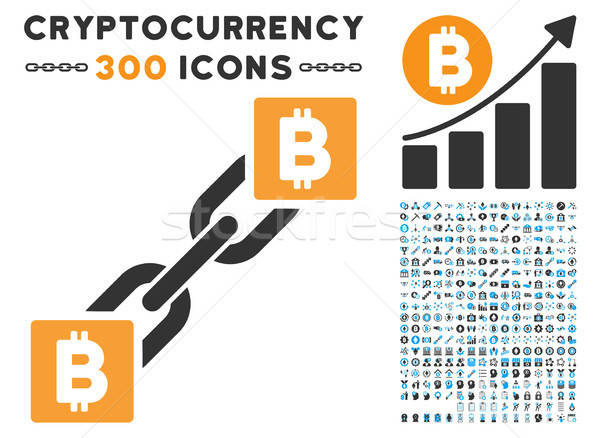 Stock photo: Bitcoin Blockchain Flat Icon with Collection