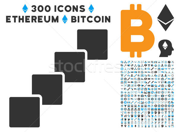 Blockchain Flat Icon with Stock photo © ahasoft