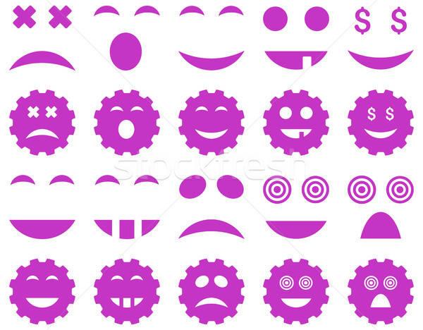 инструментом Gear улыбка эмоций иконки вектора Сток-фото © ahasoft