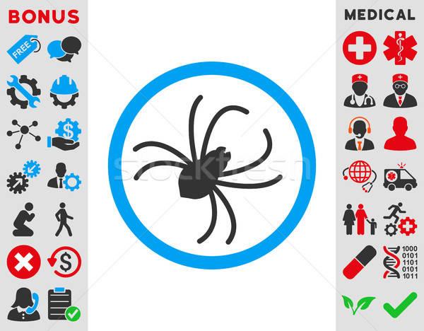Pók ikon vektor stílus szimbólum kék Stock fotó © ahasoft