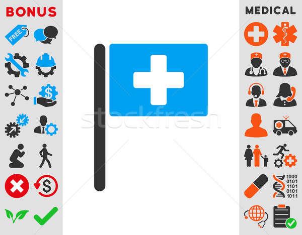 Foto stock: Hospital · bandeira · ícone · estilo · símbolo · azul