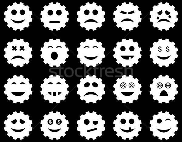 Foto stock: Engrenagem · emoção · ícones · vetor · conjunto · estilo