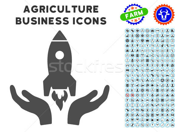 Rocket Startup Icon with Agriculture Set Stock photo © ahasoft