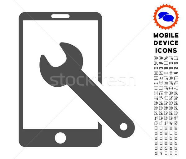 Smartphone Setup Wrench Icon with Set Stock photo © ahasoft