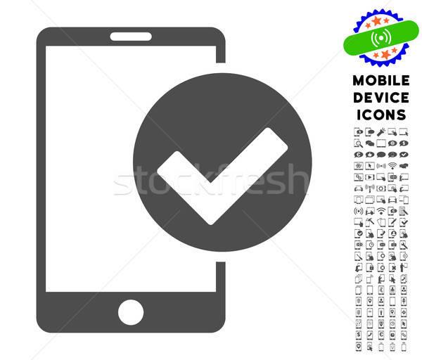 Telefon ok ikon gyűjtemény ikon okostelefon piktogram Stock fotó © ahasoft