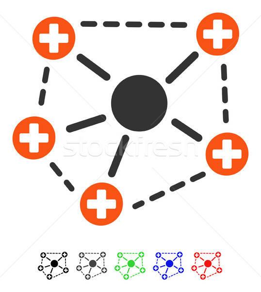 Orvosi hálózat struktúra ikon vektor színes Stock fotó © ahasoft