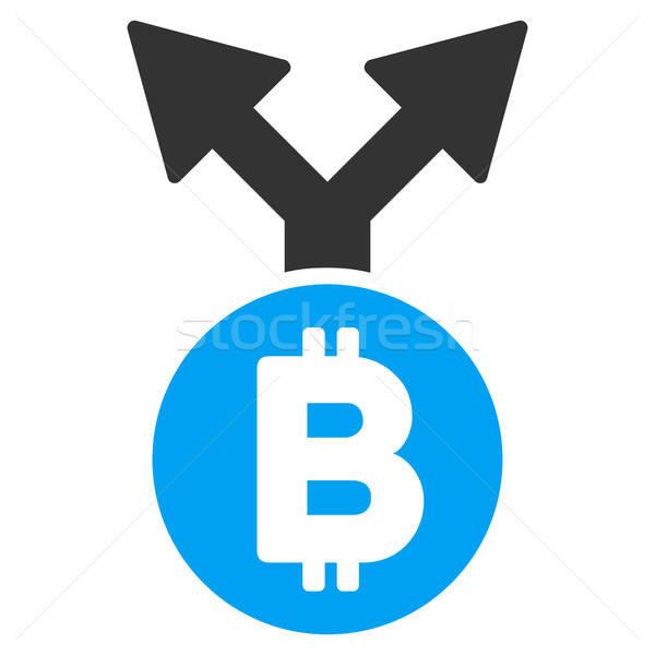 Bitcoin garfo ícone aplicação web design negócio Foto stock © ahasoft