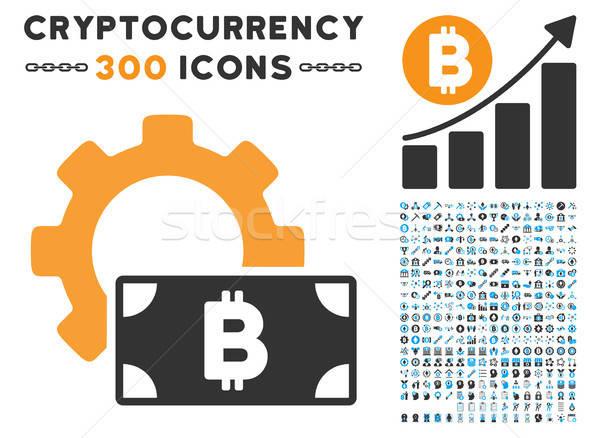 Bitcoin numerário opções engrenagem ícone clip-art Foto stock © ahasoft