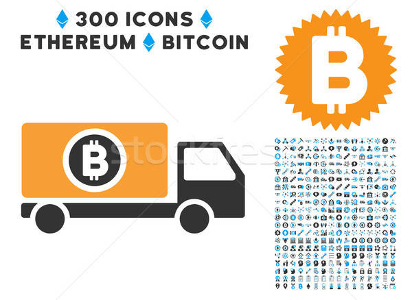 Bitcoin Delivery Truck Flat Icon with Clip Art Stock photo © ahasoft