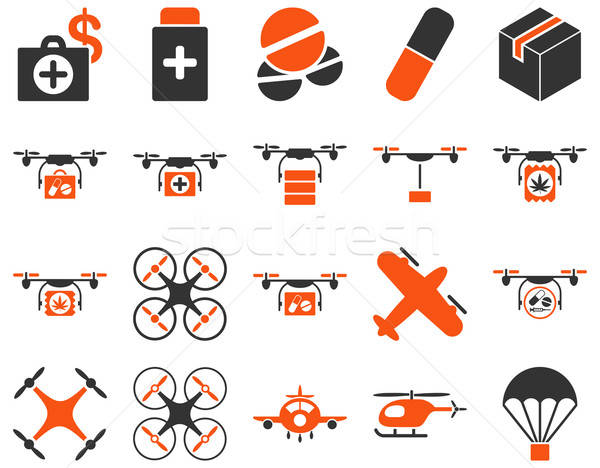 Stock photo: Medical bicolor icons