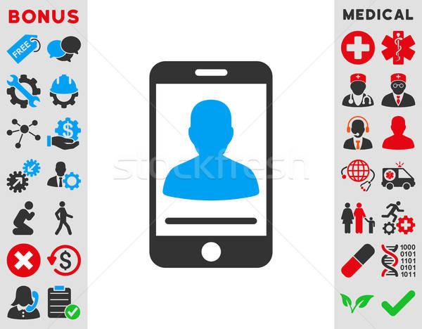 Mobil kapcsolat ikon vektor ikon stílus szimbólum Stock fotó © ahasoft