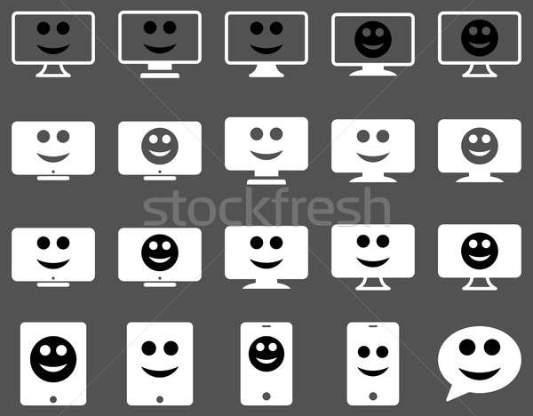 Smiles, monitors, mobile icons Stock photo © ahasoft