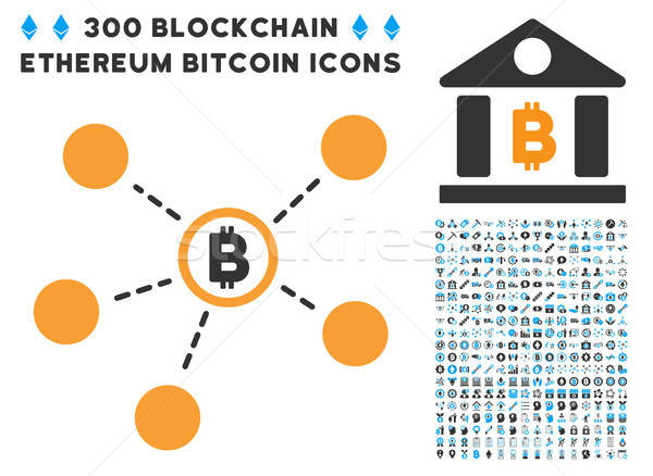 Bitcoin Network Flat Icon with Clip Art Stock photo © ahasoft