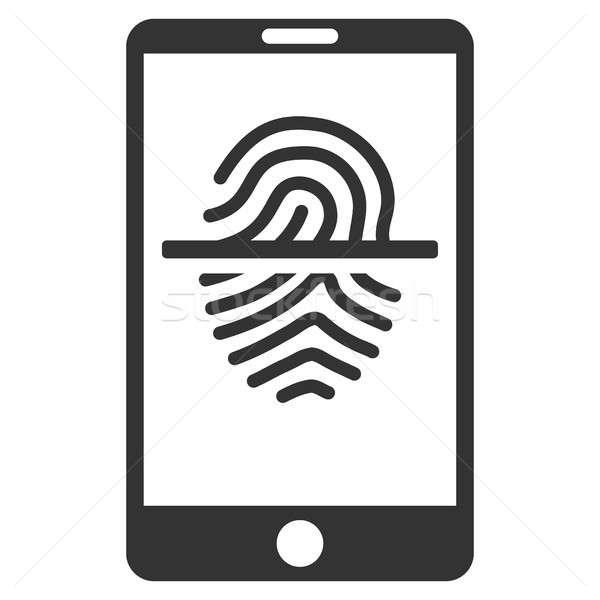 Huellas dactilares escáner icono gris símbolo Foto stock © ahasoft