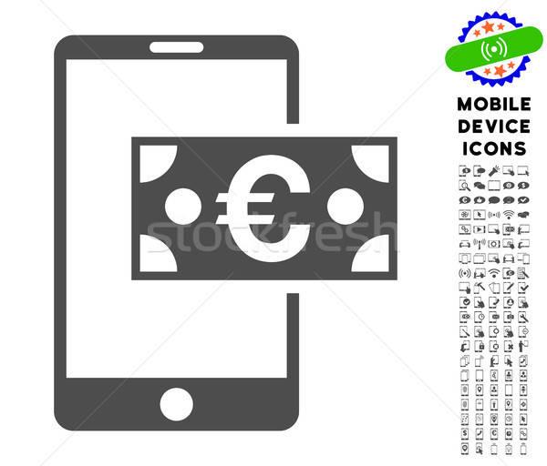 Euros mobiles trésorerie icône ensemble Photo stock © ahasoft