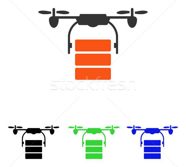 Stock photo: Cargo Drone Flat Vector Icon