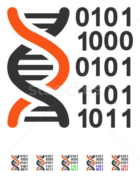 Genoom code icon gekleurd kleur zwarte Stockfoto © ahasoft