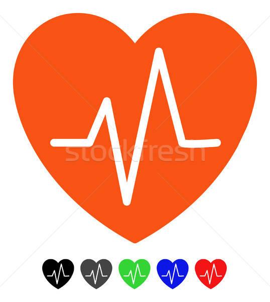 сердце кардиограмма икона вектора цвета Сток-фото © ahasoft