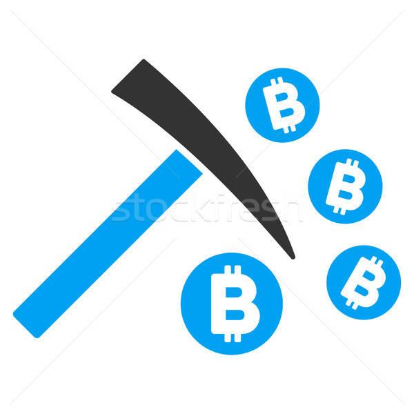 Bitcoin Mining Hammer Flat Icon Stock photo © ahasoft