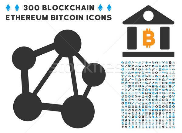 Foto stock: Rede · ícone · bitcoin · inteligente · contrato · fotos