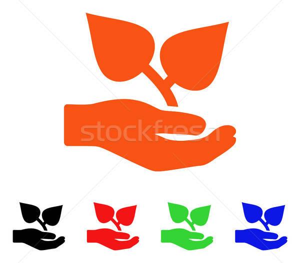 植物群 關心 手 向量 圖標 風格 商業照片 © ahasoft