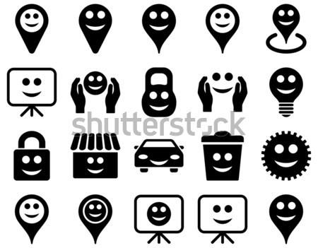 Ferramentas engrenagens smiles ícones conjunto estilo Foto stock © ahasoft