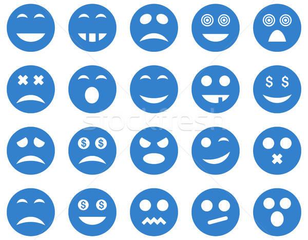 Gülümseme duygu simgeler vektör ayarlamak stil Stok fotoğraf © ahasoft