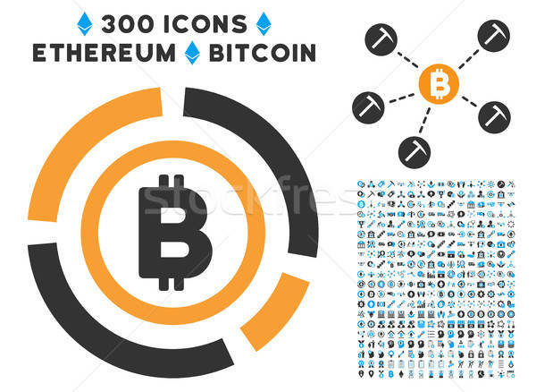 Bitcoin Circle Diagram Flat Icon with Clip Art Stock photo © ahasoft